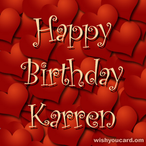 happy birthday Karren hearts card