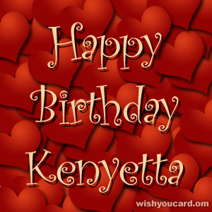 happy birthday Kenyetta hearts card