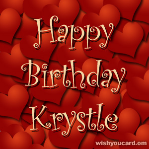 happy birthday Krystle hearts card