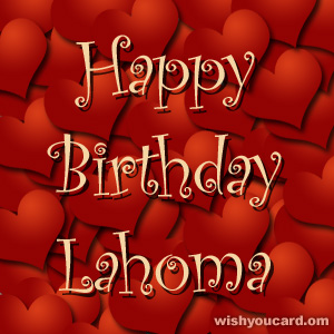 happy birthday Lahoma hearts card