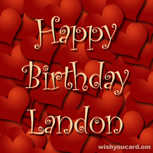 happy birthday Landon hearts card