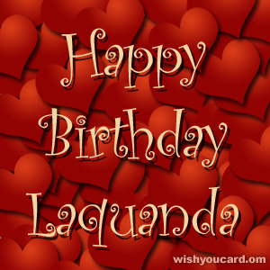 happy birthday Laquanda hearts card