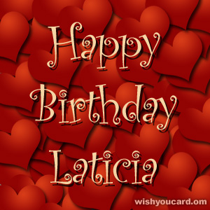 happy birthday Laticia hearts card