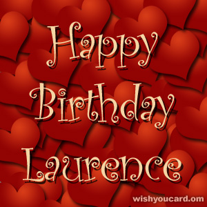 happy birthday Laurence hearts card