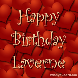 happy birthday Laverne hearts card
