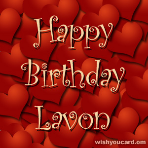 happy birthday Lavon hearts card