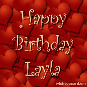 happy birthday Layla hearts card
