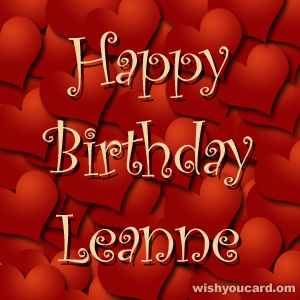 happy birthday Leanne hearts card
