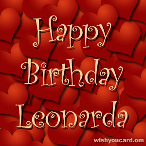 happy birthday Leonarda hearts card