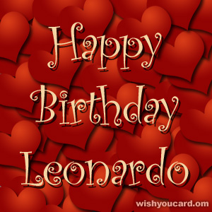 happy birthday Leonardo hearts card