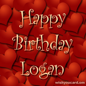 happy birthday Logan hearts card