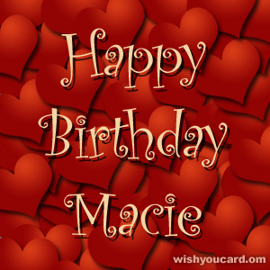 happy birthday Macie hearts card