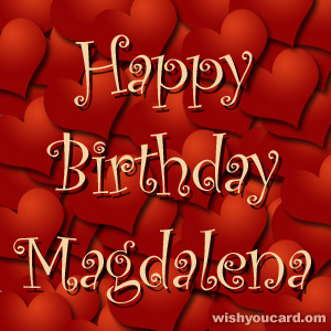 happy birthday Magdalena hearts card