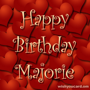 happy birthday Majorie hearts card