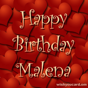 happy birthday Malena hearts card