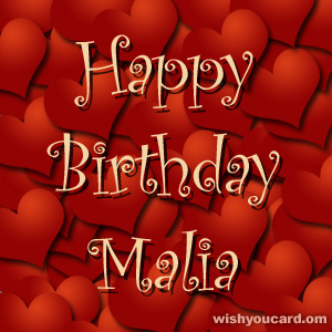 happy birthday Malia hearts card