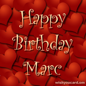 happy birthday Marc hearts card