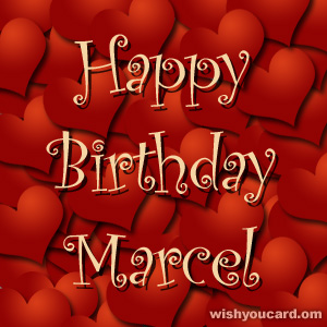 happy birthday Marcel hearts card
