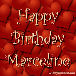happy birthday Marceline hearts card