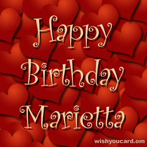 happy birthday Marietta hearts card