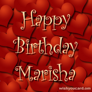 happy birthday Marisha hearts card