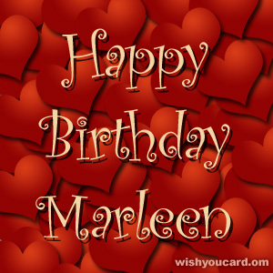 happy birthday Marleen hearts card