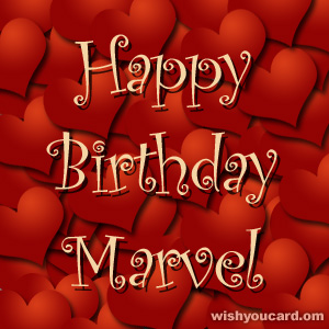 happy birthday Marvel hearts card