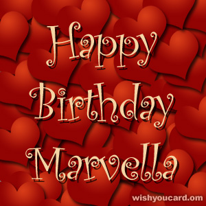 happy birthday Marvella hearts card