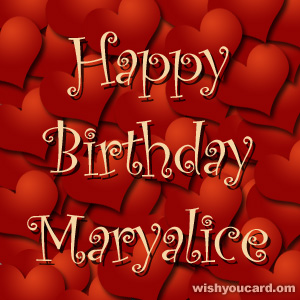 happy birthday Maryalice hearts card