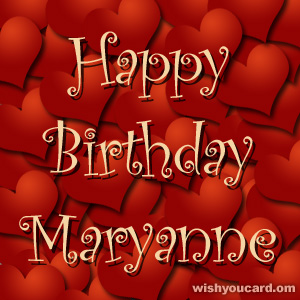 happy birthday Maryanne hearts card