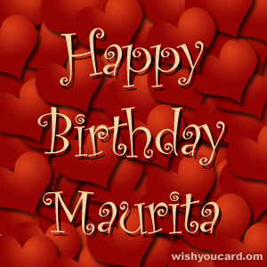 happy birthday Maurita hearts card