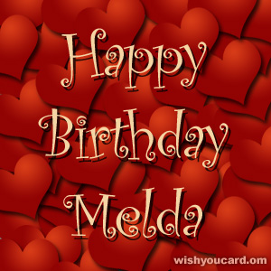 happy birthday Melda hearts card