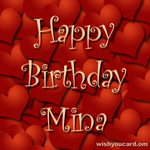 happy birthday Mina hearts card