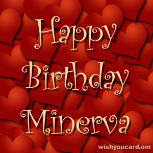 happy birthday Minerva hearts card