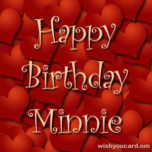 happy birthday Minnie hearts card