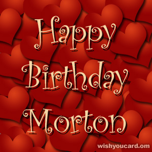 happy birthday Morton hearts card