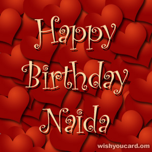 happy birthday Naida hearts card
