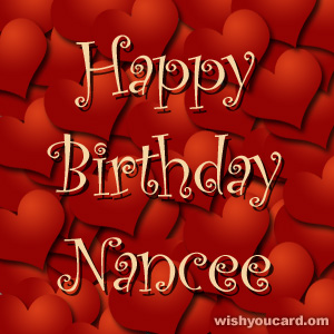 happy birthday Nancee hearts card