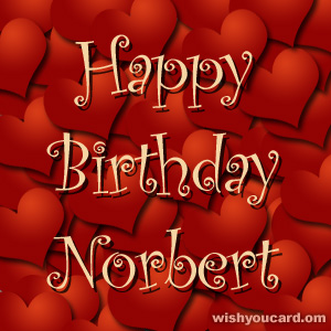 happy birthday Norbert hearts card