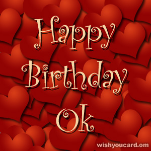 happy birthday Ok hearts card