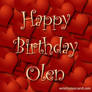 happy birthday Olen hearts card