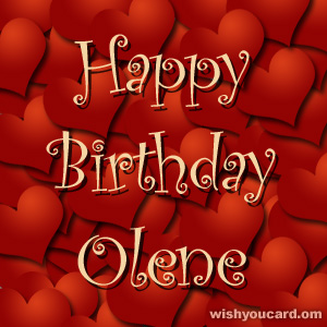 happy birthday Olene hearts card