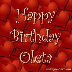 happy birthday Oleta hearts card