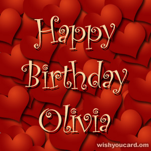 happy birthday Olivia hearts card