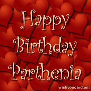 happy birthday Parthenia hearts card