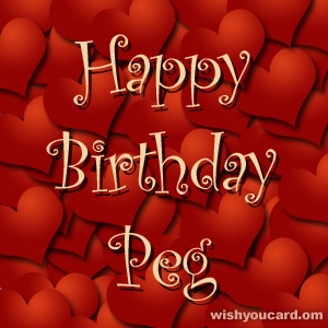 happy birthday Peg hearts card