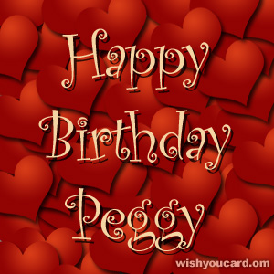 happy birthday Peggy hearts card