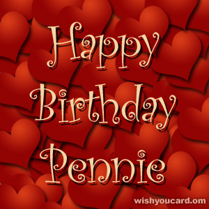 happy birthday Pennie hearts card