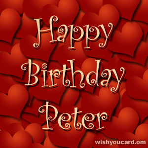 happy birthday Peter hearts card