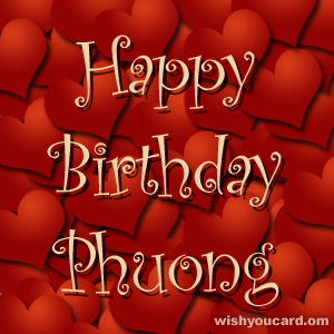happy birthday Phuong hearts card